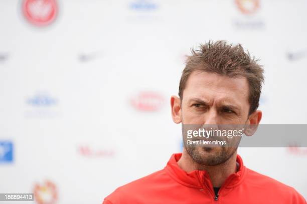 Tony Popovic of the Wanders looks on during a Western Sydney Wanderers ALeague training session at Blacktown International Sportspark on November 5...