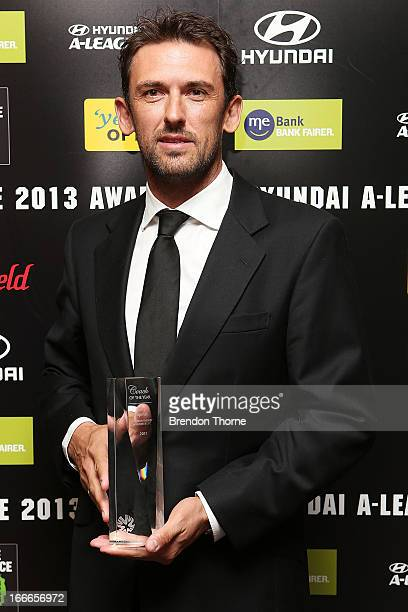 Tony Popovic poses after winning Hyundai ALeague Coach of the Year during the 2013 FFA ALeague and WLeague Awards at Hilton Hotel on April 15 2013 in...