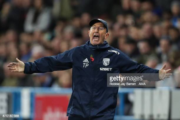 Tony Pulis manager / head coach of West Bromwich Albion during the Premier League match between Huddersfield Town and West Bromwich Albion at John...
