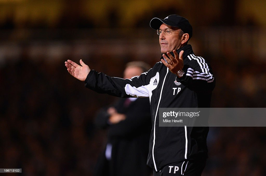 Tony Pulis, manager of Stoke City shows his frustration during the Barclays Premier League match between West Ham United and Stoke City at the Boleyn Ground on November 19, 2012 in London, England.