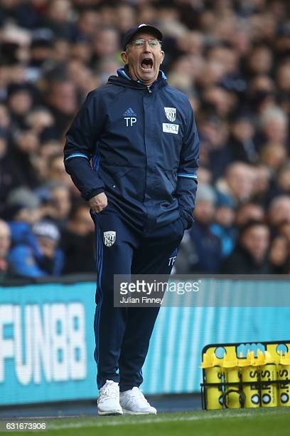 Tony Pulis manager of WBA shouts instructions during the Premier League match between Tottenham Hotspur and West Bromwich Albion at White Hart Lane...