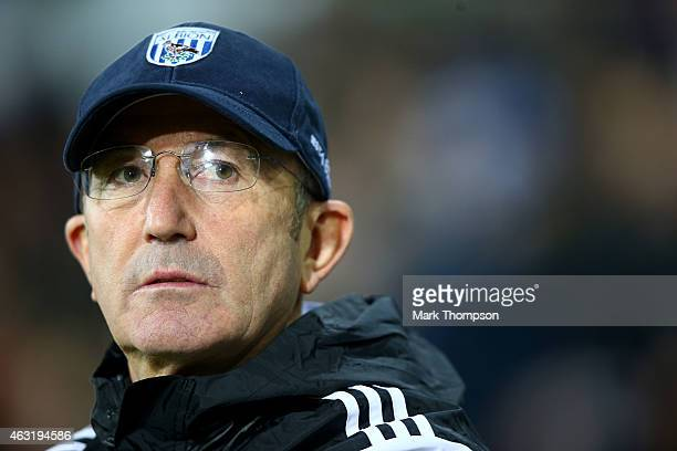 Tony Pulis manager of West Brom looks on during the Barclays Premier League match between West Bromwich Albion and Swansea City at The Hawthorns on...