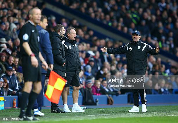 Tony Pulis manager of West Brom shows his frustrations with the fourth official after the second goal of Brown Ideye of West Brom is disallowed...