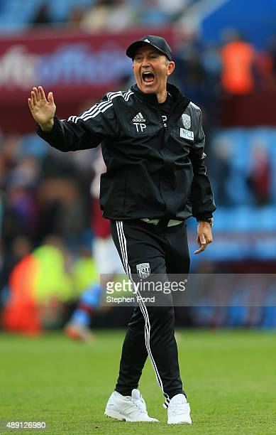 Tony Pulis manager of West Bromwich Albion celebrates his team's 10 win in the Barclays Premier League match between Aston Villa and West Bromwich...