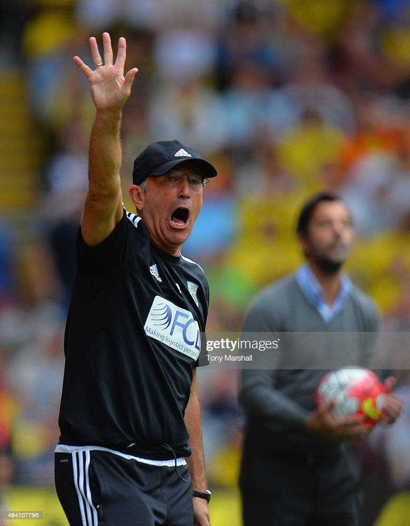 Tony Pulis manager of West Bromwich Albion gestures during the Barclays Premier League match between Watford and West Bromwich Albion at Vicarage Road on August 15, 2015 in Watford, United Kingdom.