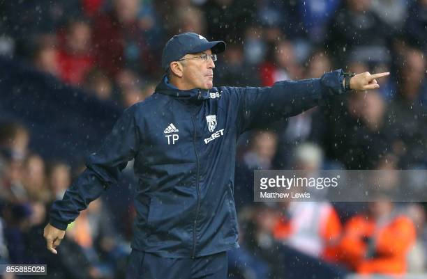 Tony Pulis Manager of West Bromwich Albion gestures during the Premier League match between West Bromwich Albion and Watford at The Hawthorns on...