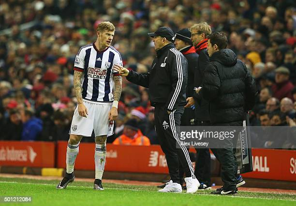 Tony Pulis manager of West Bromwich Albion in discussion with James McClean of West Bromwich Albion during the Barclays Premier League match between...