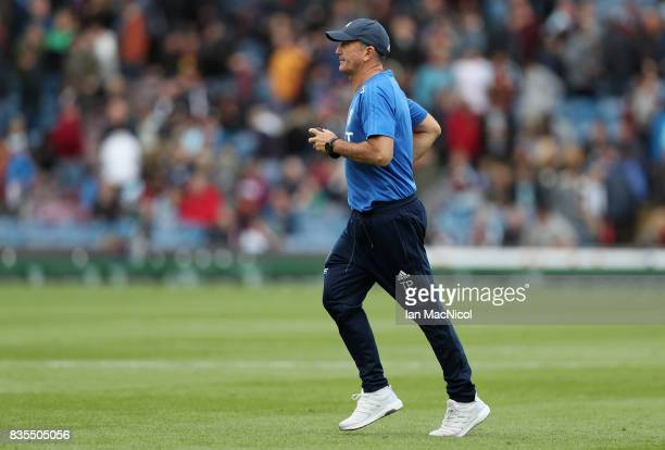 Tony Pulis Manager of West Bromwich Albion is seen on the pitch at half time during the Premier League match between Burnley and West Bromwich Albion...