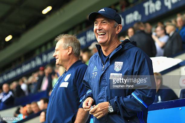Tony Pulis Manager of West Bromwich Albion laughs prior to the Premier League match between West Bromwich Albion and West Ham United at The Hawthorns...