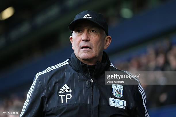 Tony Pulis manager of West Bromwich Albion looks on during the Barclays Premier League match between West Bromwich Albion and Watford at The...