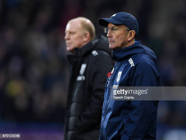 Tony Pulis Manager of West Bromwich Albion looks on during the Premier League match between Huddersfield Town and West Bromwich Albion at John...
