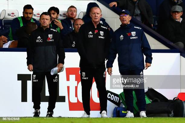 Tony Pulis Manager of West Bromwich Albion looks on from the sidline with assistant Gary Megson during the Premier League match between West Bromwich...