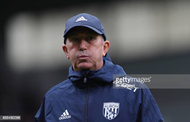 Tony Pulis Manager of West Bromwich Albion looks on prior to the Premier League match between Burnley and West Bromwich Albion at Turf Moor on August...