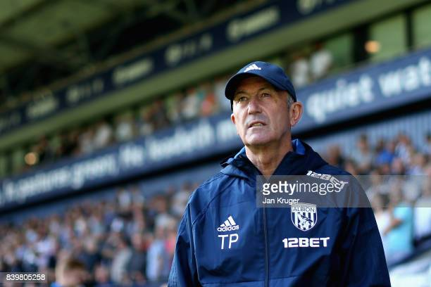 Tony Pulis Manager of West Bromwich Albion looks on prior to the Premier League match between West Bromwich Albion and Stoke City at The Hawthorns on...