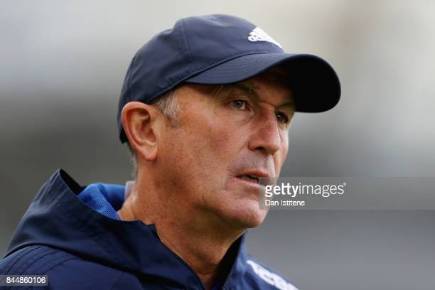 Tony Pulis Manager of West Bromwich Albion looks on prior to the Premier League match between Brighton and Hove Albion and West Bromwich Albion at...