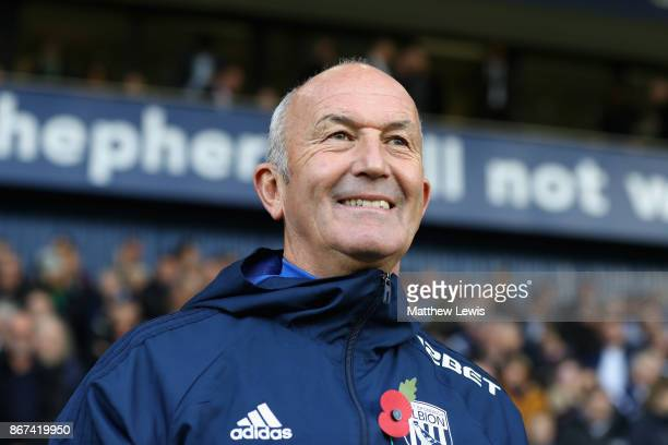 Tony Pulis Manager of West Bromwich Albion looks on prior to the Premier League match between West Bromwich Albion and Manchester City at The...