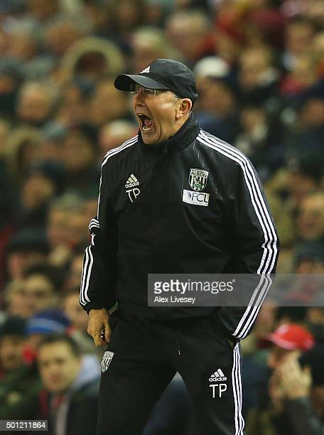 Tony Pulis manager of West Bromwich Albion shouts during the Barclays Premier League match between Liverpool and West Bromwich Albion at Anfield on...