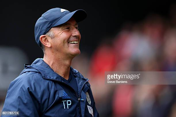 Tony Pulis Manager of West Bromwich Albion smiiles pre match during the Premier League match between AFC Bournemouth and West Bromwich Albion at...