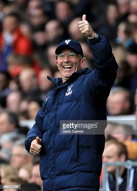 Tony Pulis the Crystal Palace manager during the Barclays Premier League match between Fulham and Crystal Palace at Craven Cottage on May 11 2014 in...