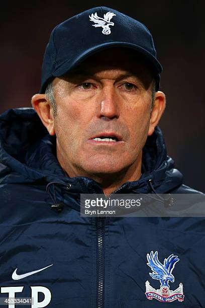 Tony Pulis the Crystal Palace manager looks on during the Barclays Premier League match between Crystal Palace and West Ham United at Selhurst Park...