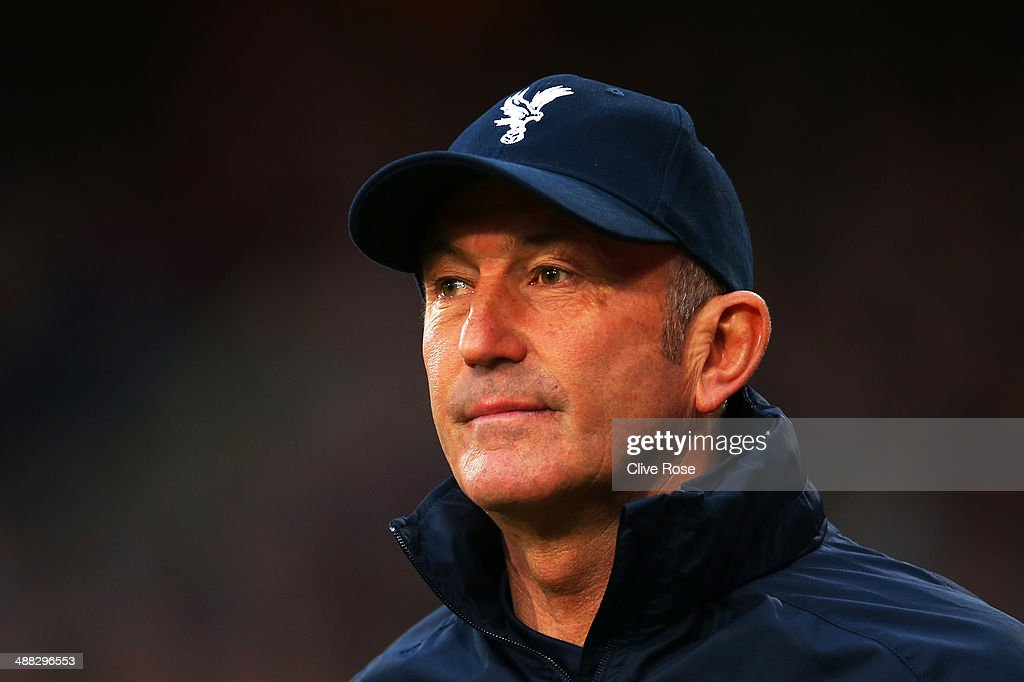 Tony Pulis the Crystal Palace manager looks on during the Barclays Premier League match between Crystal Palace and Liverpool at Selhurst Park on May 5, 2014 in London, England.