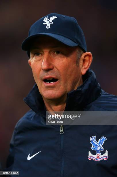 Tony Pulis the Crystal Palace manager looks on during the Barclays Premier League match between Crystal Palace and Liverpool at Selhurst Park on May...