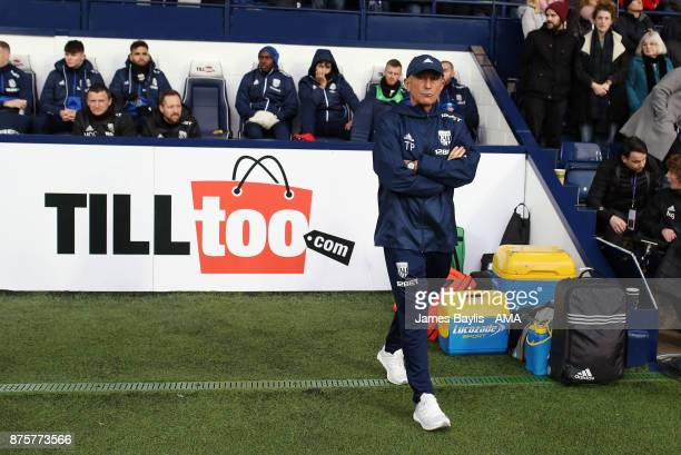 Tony Pulis the head coach / manager of West Bromwich Albion during the Premier League match between West Bromwich Albion and Chelsea at The Hawthorns...