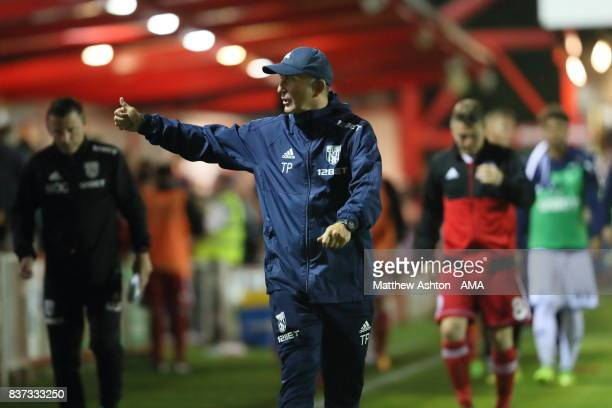 Tony Pulis the head coach / manager of West Bromwich Albion gives a thumbs up to the fans at the end of the Carabao Cup Second Round match between...