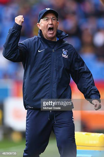 Tony Pulis the manager of Crystal Palace celebrates his sides third goal during the Barclays Premier League match between Cardiff City and Crystal...