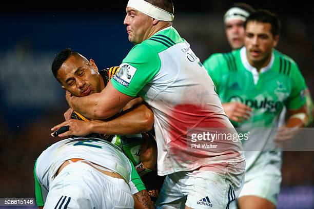 Tony Pulu of the Chiefs is tackled during the round 11 Super Rugby match between the Chiefs and the Highlanders on May 7 2016 in Hamilton New Zealand