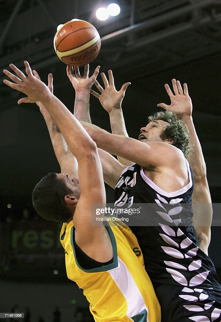 Tony Rampton of the Tall Blacks shoots over Russel Hinder of the Boomers during the Resi Mortgage Test Series match between the Australian Boomers and the New Zealand Tall Blacks at Vodafone Arena July 19, 2006 in Melbourne, Australia.