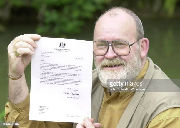 Tony Ramsay a resident manager of Millington Court retirement flats Uckfield East Sussex with his letter from Downing Street informing him of his...