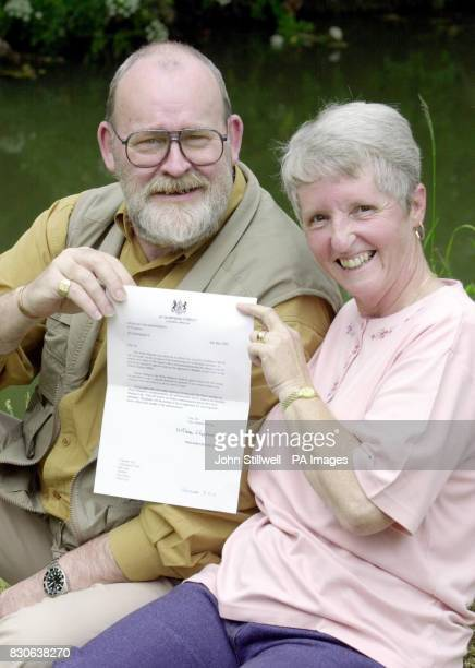 Tony Ramsay a resident manager of Millington Court retirement flats Uckfield East Sussex with his wife Jackie and his letter from Downing Street...