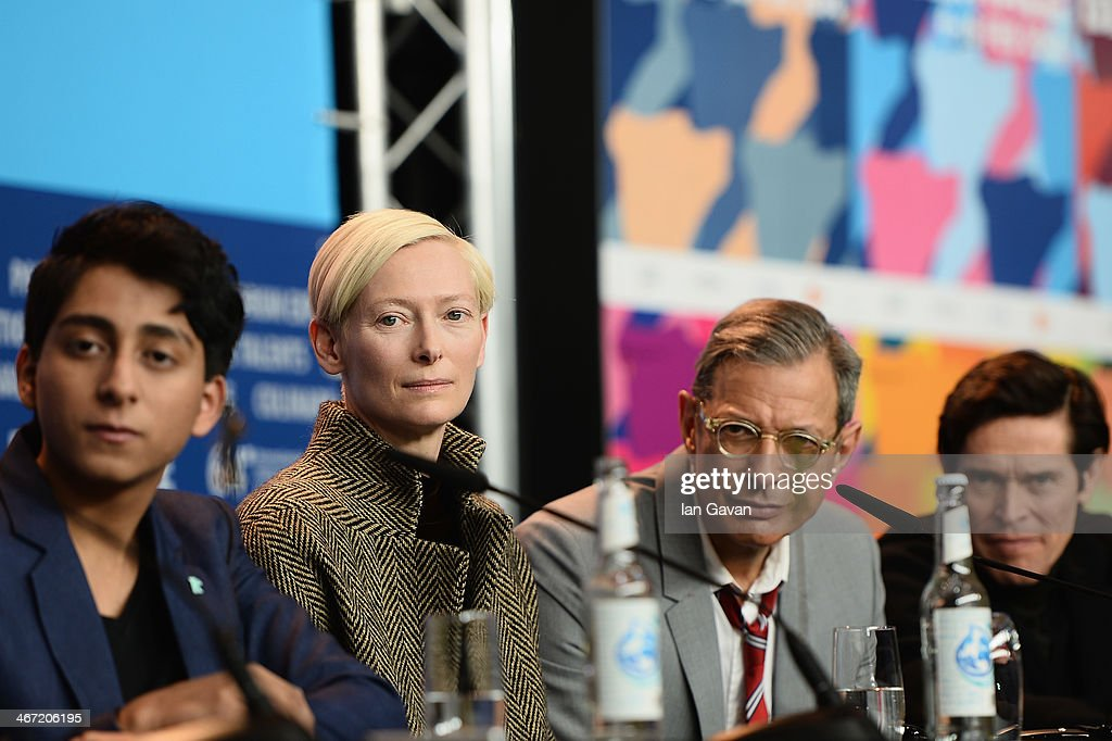 Tony Revolori, <a gi-track='captionPersonalityLinkClicked' href=/galleries/search?phrase=Tilda+Swinton&family=editorial&specificpeople=202991 ng-click='$event.stopPropagation()'>Tilda Swinton</a>, <a gi-track='captionPersonalityLinkClicked' href=/galleries/search?phrase=Jeff+Goldblum&family=editorial&specificpeople=204160 ng-click='$event.stopPropagation()'>Jeff Goldblum</a> and <a gi-track='captionPersonalityLinkClicked' href=/galleries/search?phrase=Willem+Dafoe&family=editorial&specificpeople=203171 ng-click='$event.stopPropagation()'>Willem Dafoe</a> attend 'The Grand Budapest Hotel' press conference during 64th Berlinale International Film Festival at Grand Hyatt Hotel on February 6, 2014 in Berlin, Germany.