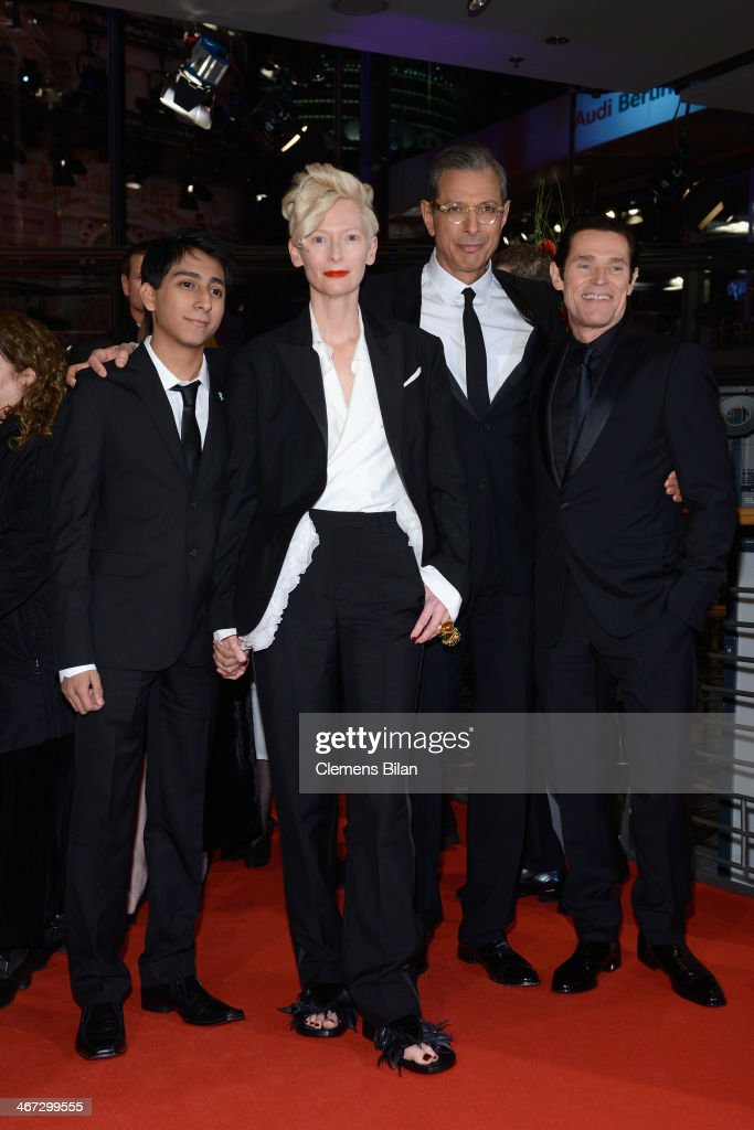 Tony Revolori, <a gi-track='captionPersonalityLinkClicked' href=/galleries/search?phrase=Tilda+Swinton&family=editorial&specificpeople=202991 ng-click='$event.stopPropagation()'>Tilda Swinton</a>, <a gi-track='captionPersonalityLinkClicked' href=/galleries/search?phrase=Jeff+Goldblum&family=editorial&specificpeople=204160 ng-click='$event.stopPropagation()'>Jeff Goldblum</a> and <a gi-track='captionPersonalityLinkClicked' href=/galleries/search?phrase=Willem+Dafoe&family=editorial&specificpeople=203171 ng-click='$event.stopPropagation()'>Willem Dafoe</a> attend 'The Grand Budapest Hotel' Premiere and opening ceremony during the 64th Berlinale International Film Festival at Berlinale Palast on February 6, 2014 in Berlin, Germany.