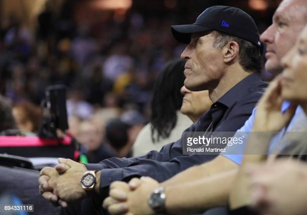 Tony Robbins attends Game 4 of the 2017 NBA Finals between the Golden State Warriors and the Cleveland Cavaliers at Quicken Loans Arena on June 9...