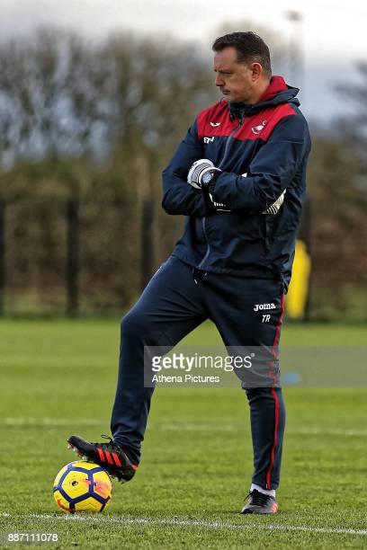 Tony Roberts goalkeeping coach watches the trainingduring the Swansea City Training at The Fairwood Training Ground on December 05 2017 in Swansea...
