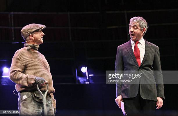Tony Robinson and Rowan Atkinson perform on stage as part of the The Prince's Trust comedy gala We Are Most Amused at Royal Albert Hall on November...