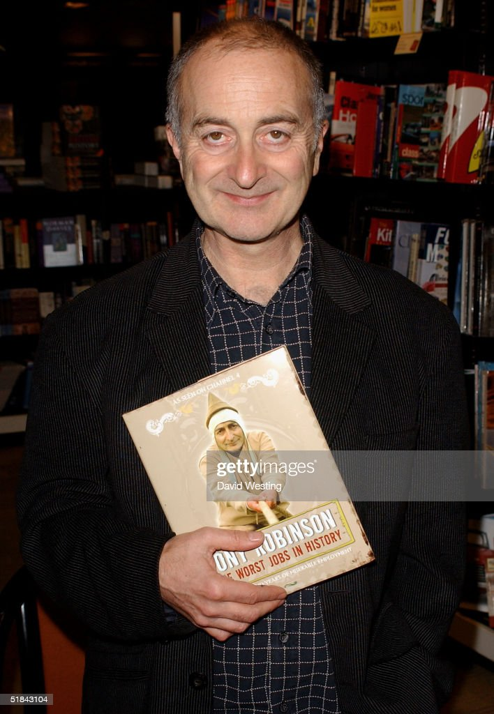 Tony Robinson signs copies of his book 'The Worst Jobs in History' at Waterstone's December 9, 2004 in London, England.