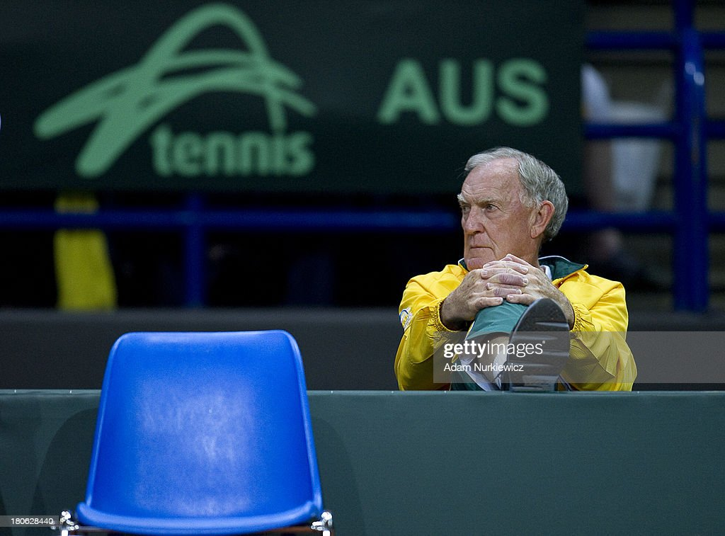 Tony Roche, trainer coach for Australia on the bench during the Davis Cup match between Poland and Australia at the Torwar Hall on September 15, 2013 in Warsaw, Poland.