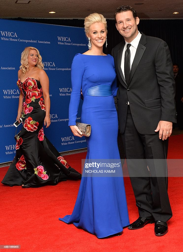 <a gi-track='captionPersonalityLinkClicked' href=/galleries/search?phrase=Tony+Romo&family=editorial&specificpeople=756503 ng-click='$event.stopPropagation()'>Tony Romo</a> and <a gi-track='captionPersonalityLinkClicked' href=/galleries/search?phrase=Candice+Crawford&family=editorial&specificpeople=5127745 ng-click='$event.stopPropagation()'>Candice Crawford</a> arrive at the White House Correspondents' Association (WHCA) annual dinner in Washington on May 3, 2014. AFP PHOTO/Nicholas KAMM