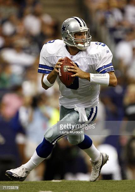 Tony Romo of the Dallas Cowboys drops back to pass the ball against the San Francisco 49ers during a preseason game on August 26 2006 at Texas...