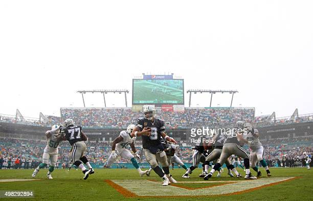Tony Romo of the Dallas Cowboys in action during the first quarter of the game against the Miami Dolphins at Sun Life Stadium on November 22 2015 in...