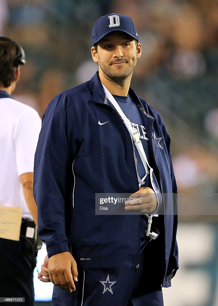 Tony Romo #9 of the Dallas Cowboys looks on from the sideline in the fourth quarter against the Philadelphia Eagles on September 20, 2014 at Lincoln Financial Field in Philadelphia, Pennsylvania.The Dallas Cowboys defeated the Philadelphia Eagles 20-10.Romo was injured in the third quarter and did not return to play.