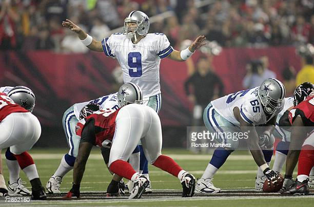 Tony Romo of the Dallas Cowboys motions at the line of scrimmage during the game against the Atlanta Falcons at the Georgia Dome on December 16 2006...