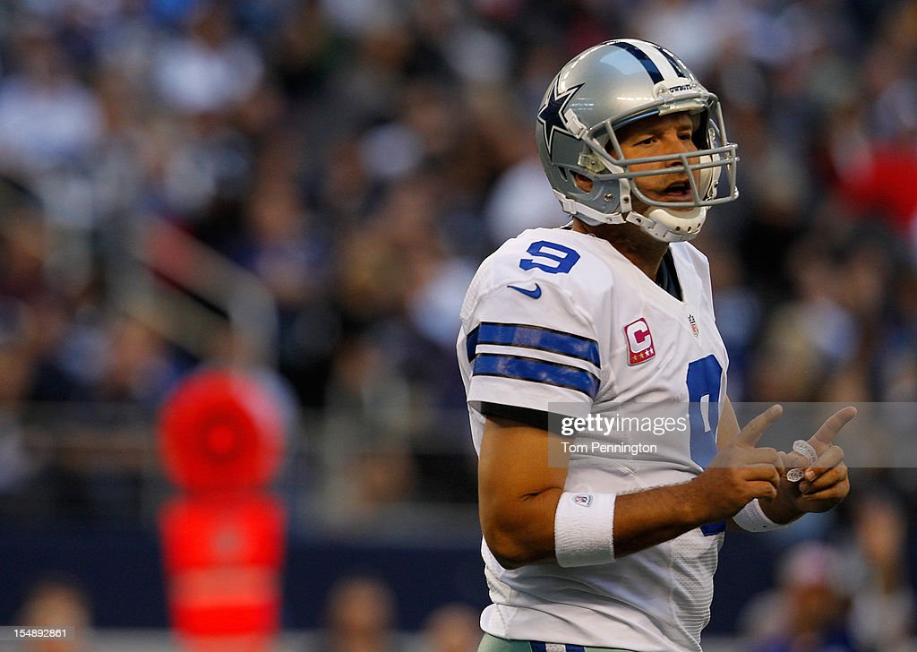 <a gi-track='captionPersonalityLinkClicked' href=/galleries/search?phrase=Tony+Romo&family=editorial&specificpeople=756503 ng-click='$event.stopPropagation()'>Tony Romo</a> #9 of the Dallas Cowboys reacts after a play against the New York Giants at Cowboys Stadium on October 28, 2012 in Arlington, Texas. The New York Giants beat the Dallas Cowboys 29-26.