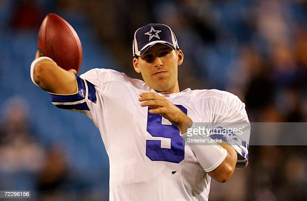 Tony Romo of the Dallas Cowboys warms up before the start of their game against the Carolina Panthers on October 29 2006 at Bank of America Stadium...