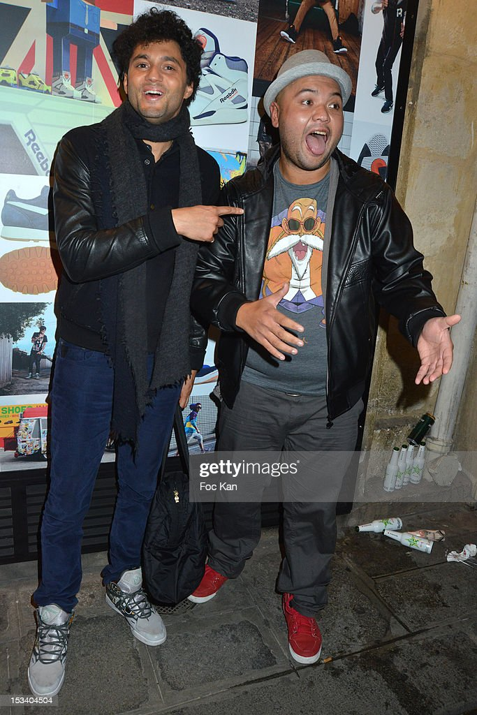 Tony Saint Laurent from Jamel Comedy Club and Raphal Yem attend the Reebok Ephemeral Beaubourg Flagship Store Opening Party at LÕImprimerie October 4, 2012 in Paris, France.