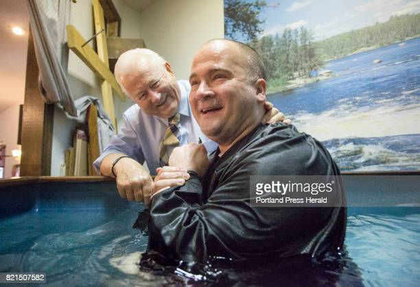 Tony Sanborn smiles after being baptized during a worship service at Apostolic Christian Life Center in Thomaston on Sunday May 14 2017 Tony was...