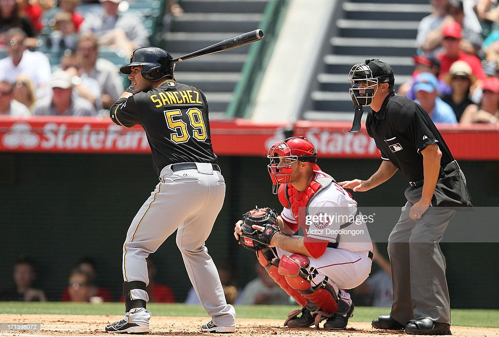 Tony Sanchez #59 of the Pittsburgh Pirates bats in the second inning during the MLB game against the Los Angeles Angels of Anaheim at Angel Stadium of Anaheim on June 23, 2013 in Anaheim, California. The Pirates defeated the Angels 10-9 in ten innings.